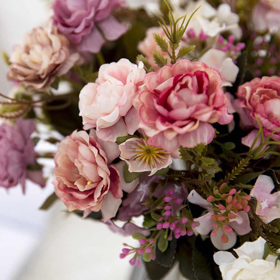 Peony DIY ตกแต่ง VINTAGE ผ้าไหมประดิษฐ์ดอกไม้ขนาดเล็ก Rose งานแต่งงานดอกไม้ปลอมเทศกาลอุปกรณ์ตกแต่งบ้านช่อ