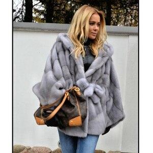 Image 2 - Abrigo de piel de visón auténtica con capucha Chaqueta de manga de murciélago para mujer, abrigo de piel auténtica con cinturón, MKW 107 Natural de piel auténtica para invierno 2019