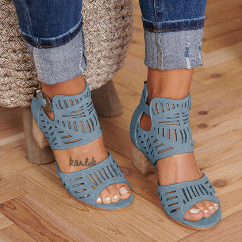 Adisputent Women Sandals Fashion Vintage Hollow Out Peep Toe Square Mid Heel Wedges Sandals High Heels Shoes Zapatos Mujer 2019