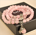 Fashion natural pink crystal bracelets for women jewelry buddhist buddha meditation rosary prayer beads