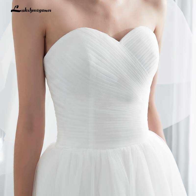 Branco Plissado Sweetheart A Linha de Vestidos de Casamento com Caixilhos Tribunal Trem Vestido De Noiva Casamento vestido de Noiva