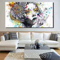 Cuadros Decoracion Abstract Oil Painting Girl With Flowers Canvas Painting Morden Art Painting Wall Pictures For