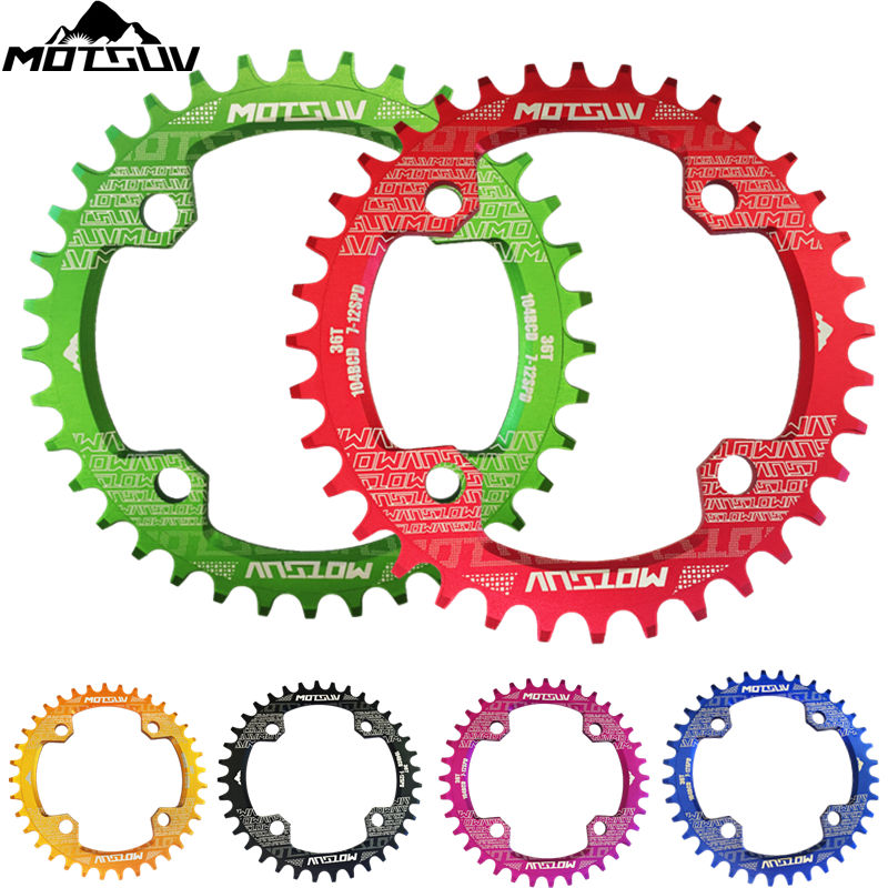 Bicycle Crank 104BCD Round Shape Narrow Wide 32T/34T/36T/38T MTB Chain ring Bicycle Chainwheel Bike Circle Crankset Single Plate motsuv bicycle crank 104bcd oval 32t 34t 36t 38t chainring narrow wide ultralight mtb bike chainwheel circle crankset plate
