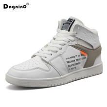 2018 New Autumn Fashion White Men's Outdoor Casual Shoes Breathable Flats High-top Sneakers PU Leather Shoes Men Plus Size 39-45