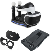 For PSVR PS4 VR PS VR Headset CUH ZVR2 2th PS Move Charging Station Display Stand Showcase Storage Holder w/ PS VR silicone case