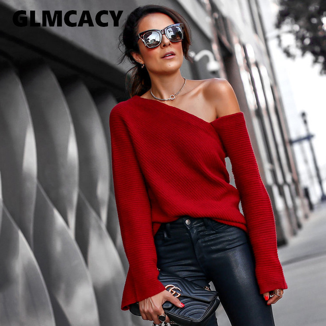 e6b495ac0b63 Women Off Shoulder Sexy Knitted Red Sweater Autumn Winter Irregular Neck  Loose Knitwear Long Sleeve Female Pullover Jumpers