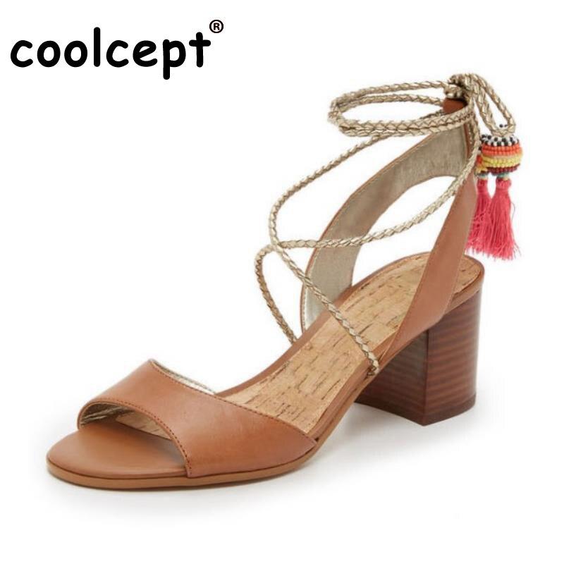 Coolcept  Women High Heel Sandals Real Leather Shoes Women Lace Up Cross Strap Tassels Sandals Lady Heels Footwears Size 34-39 faux leather cross strap sandals