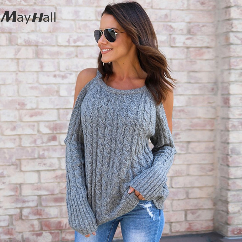MayHall Open Shoulder Knitted Long Sleeve Women Pullovers Loose Twist Sweaters Casual Autumn Winter Casacas Para Mujer MH274