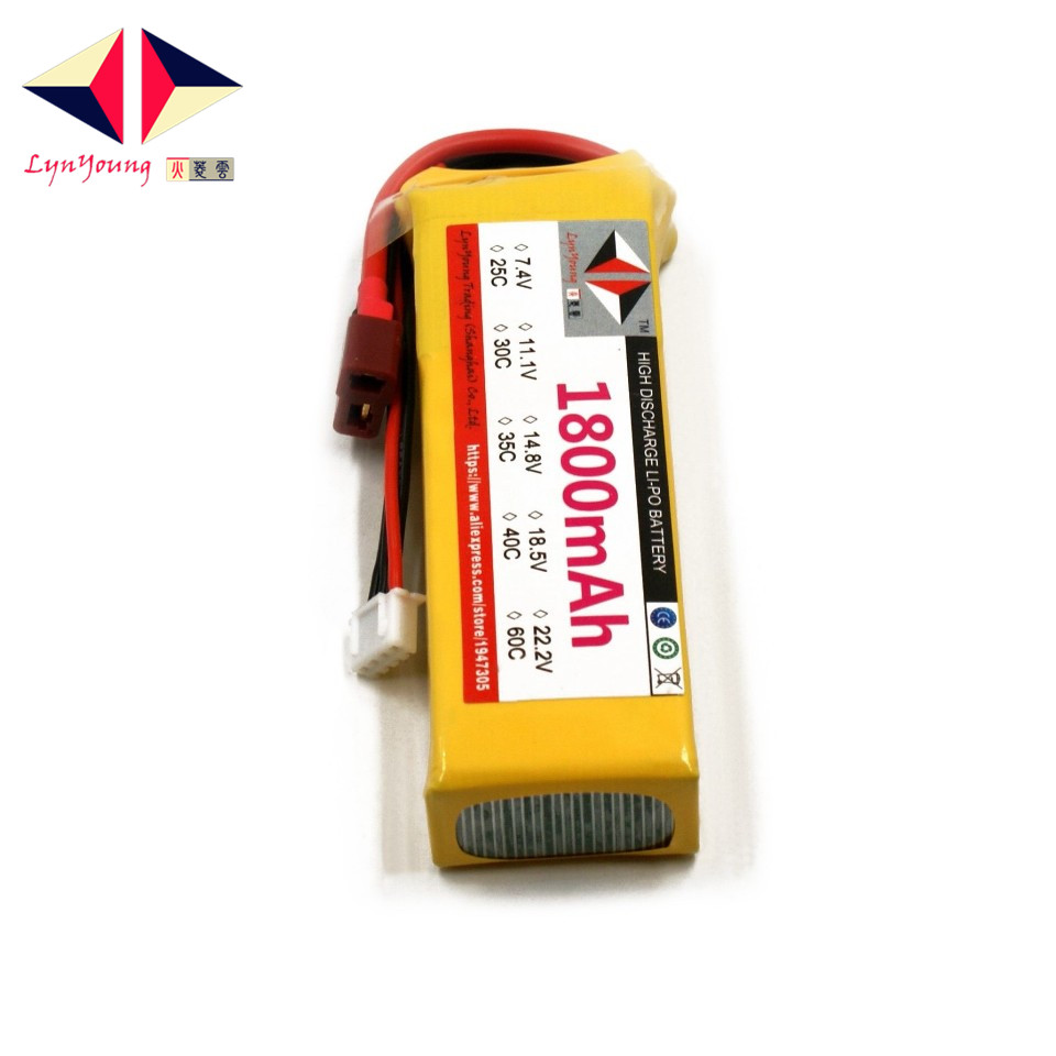 LYNYOUNG rc <font><b>Lipo</b></font> <font><b>3s</b></font> battery 11.1V 30C <font><b>1800mAh</b></font> for Drone Quadcopter Helicopter Car image