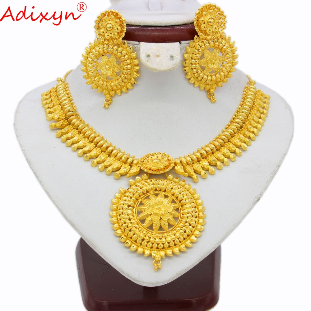Adixyn Indian Big Heavy Jewelry Sets Gold Color Necklace Earrings