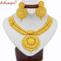Adixyn Indian Big Heavy Jewelry Sets Gold Color Necklace/Earrings For Women African/Dubai/Arab Wedding Jewelry Gifts N03146
