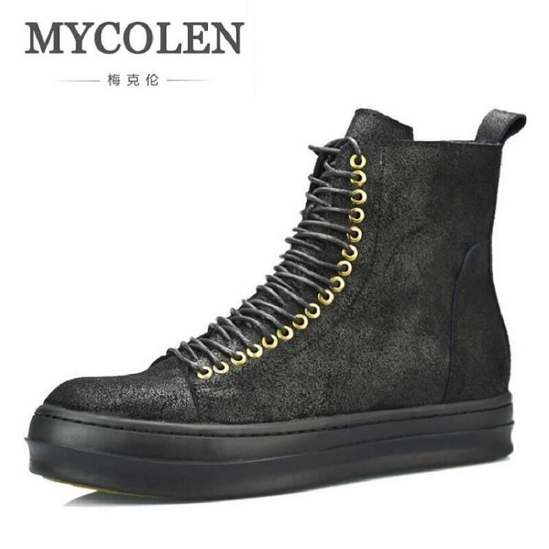MYCOLEN Spring&Autumn New Arrival Men Shoes Brand Designer Casual Black Leather Boots personality Lace-up Martin Boots 2016 new men breathable casual shoes autumn spring men white black blue pu leather shoes men shoes