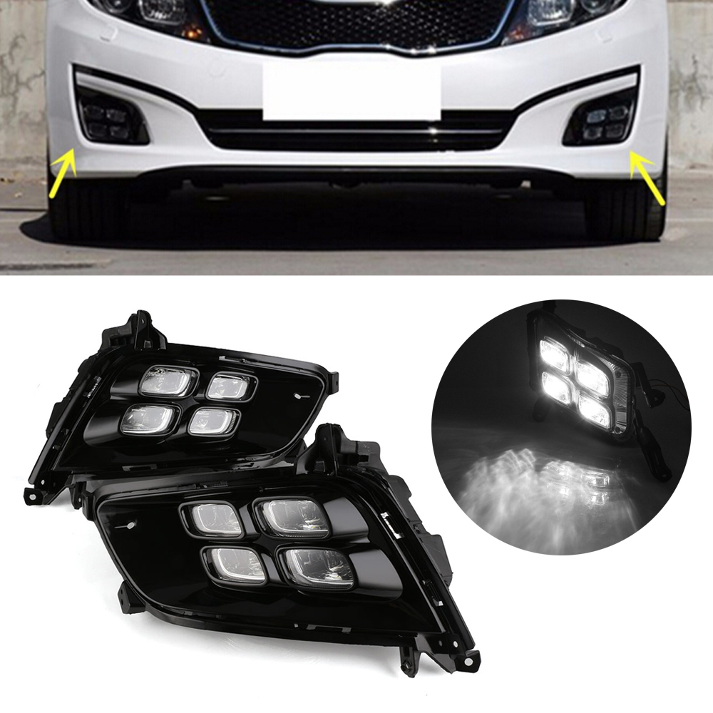2pcs/set Auto Car LED DRL Driving Daytime Running Lights White Driving Daylight Lamp For Kia K5 2013-2015 D35 auto car led white drl driving daytime running light fog lamp daylights for hyundai ix35 2014 2017 2pcs free shipping d35