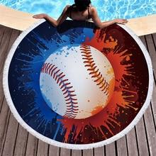 Baseball Print Round Beach Towel Microfiber Tassel Large Blanket Yoga Mat Bath For Living Room Home Decor toalla de playa