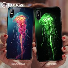 TOMKAS Luminous Animal Glass Case For iPhone X XS MAX XS Luxury Silicone Phone Case For iPhone 7 8 Plus Cases For iPhone 6 S 6S(China)