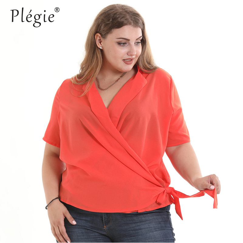 beb6e03cd63e28 Plegie 5XL 6XL Plus Size Shirt Blouse Women Short Sleeve V Neck Lace Up Sky  Blue