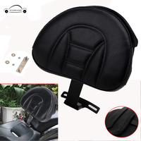 KOLEROADER Motorcycle Backrest Black Adjustable Plug In Driver Rider Seat Cushion Pad For Harley Fatboy Heritage Softail /