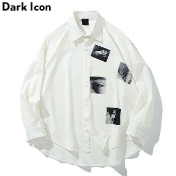 Dark Icon Printed Oversized Shirt Men 2019 Summer Turn-down Collar Mens Shirts Three Quarter Sleeve for