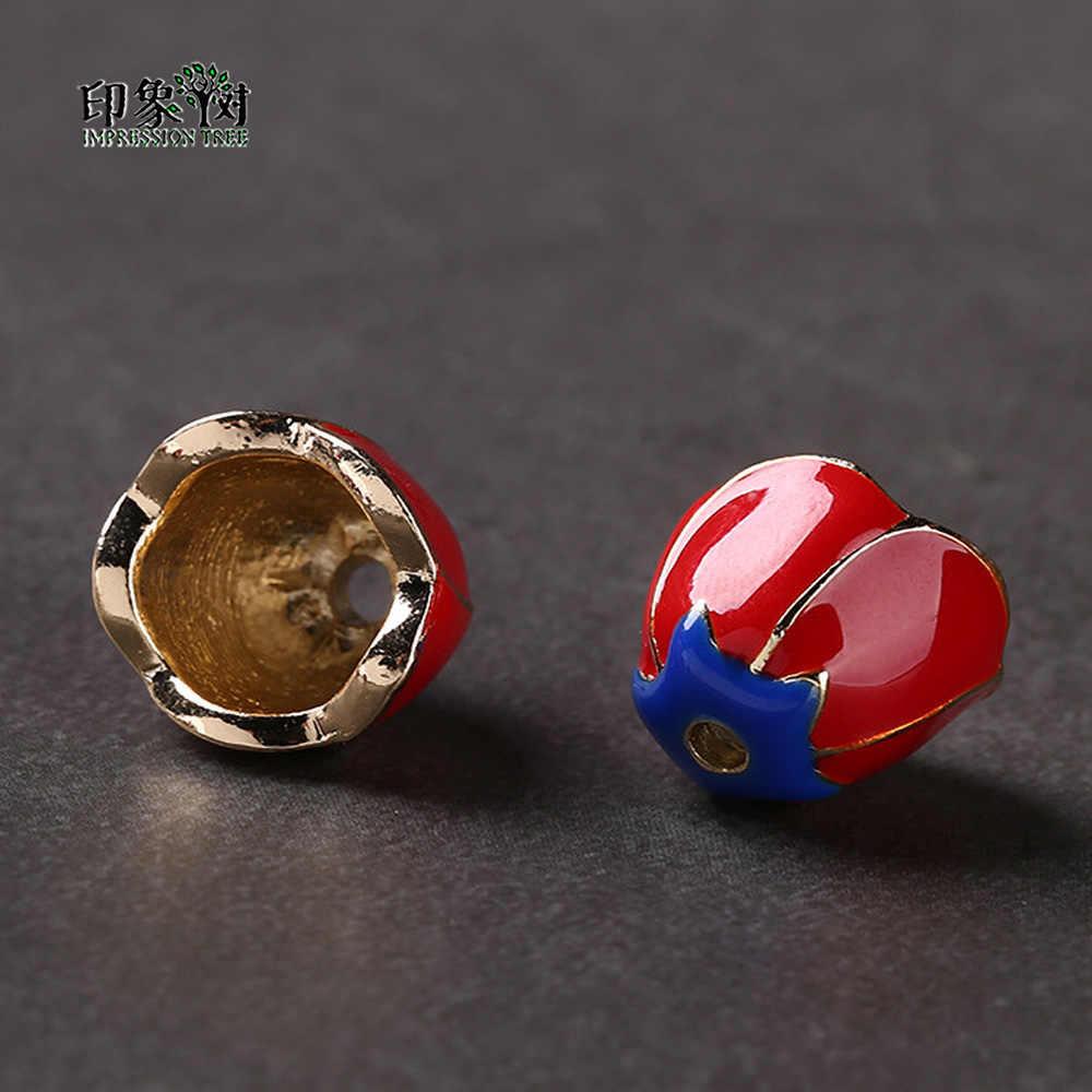 5/10 unids/lote 11*14mm flor roja Rosa torus zinc esmalte de aleación de metal cuentas para hacer joyas, brazaletes 27061