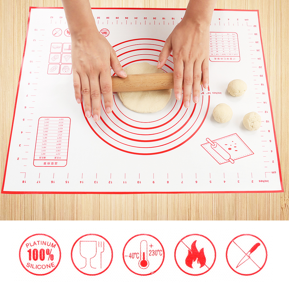 60 x 50cm Non-Stick Silicone Baking Mat Kneading Pad Sheet Glass Fiber Rolling Dough Large Size for Cake Macaron Kitchen Tools