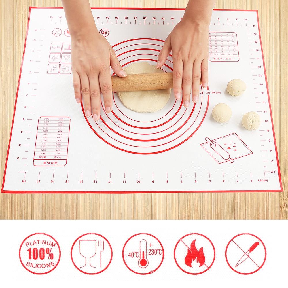 Alfombrilla de silicona antiadherente para hornear de 3 tamaños, almohadilla para amasar, lámina de fibra de vidrio, masa rodante de gran tamaño para tarta macarrón, herramientas de cocina