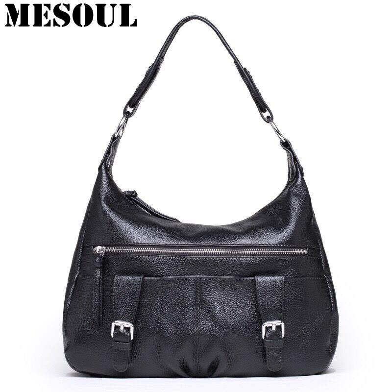 MESOUL Womens Bag Genuine Leather Handbags Designer Shoulder Bags For Ladies Gift Bolsos Mujer  High Quality New Casual Tote Bag new women leather bag handbags high quality women messenger bag casual shoulder bags women tote bag clutch ladies bolsos mujer