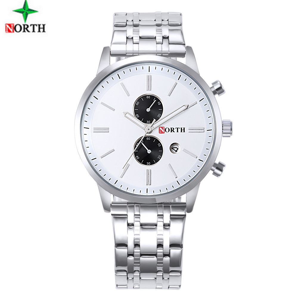 NORTH Mens Watches Top Brand Luxury Unique Design Luminous Stainless Steel Military Sports Quartz Casual Watch Man Gift