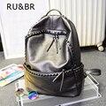 RU & BR Vogue Elegante Sacos Adolescente Viagens de Lazer Saco Mochila Rebite Mochila de Couro Menina Japão Harajuku Feminino À Prova D' Água