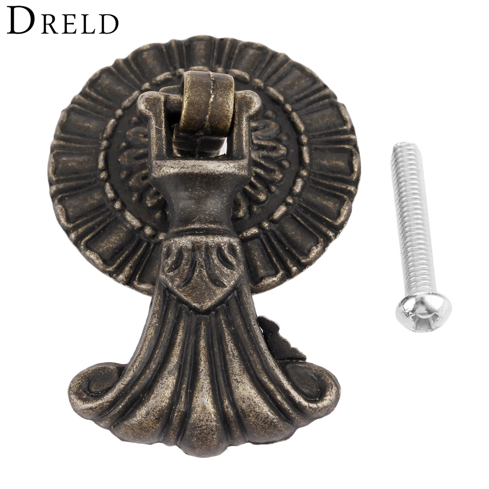 DRELD 1Pc Zinc Alloy Furniture Handle Antique Drawer Knobs Kitchen Cabinet Drawer Cupboard Door Handles Pull Furniture Fittings dreld 96 128 160mm furniture handle modern cabinet knobs and handles door cupboard drawer kitchen pull handle furniture hardware