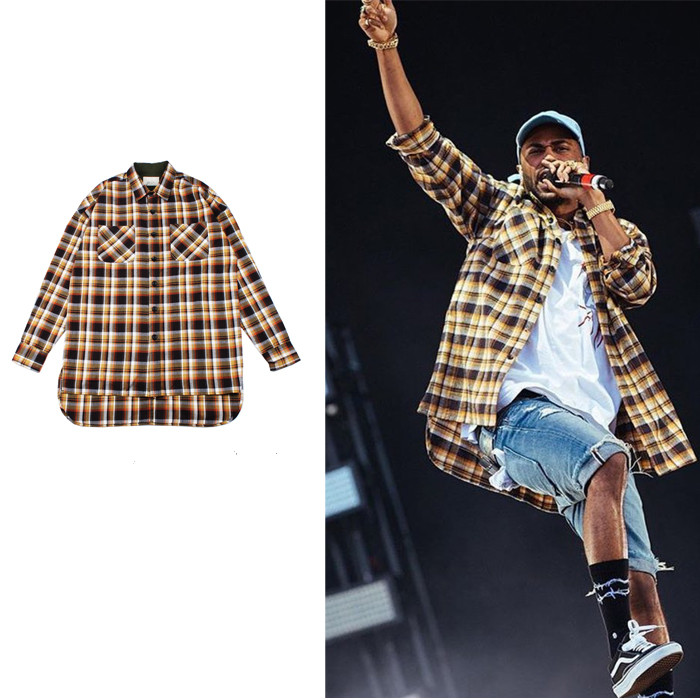 tartan clothing mens shirts fashion 2016 justin bieber Fear of god designer clothes fog flannel blue
