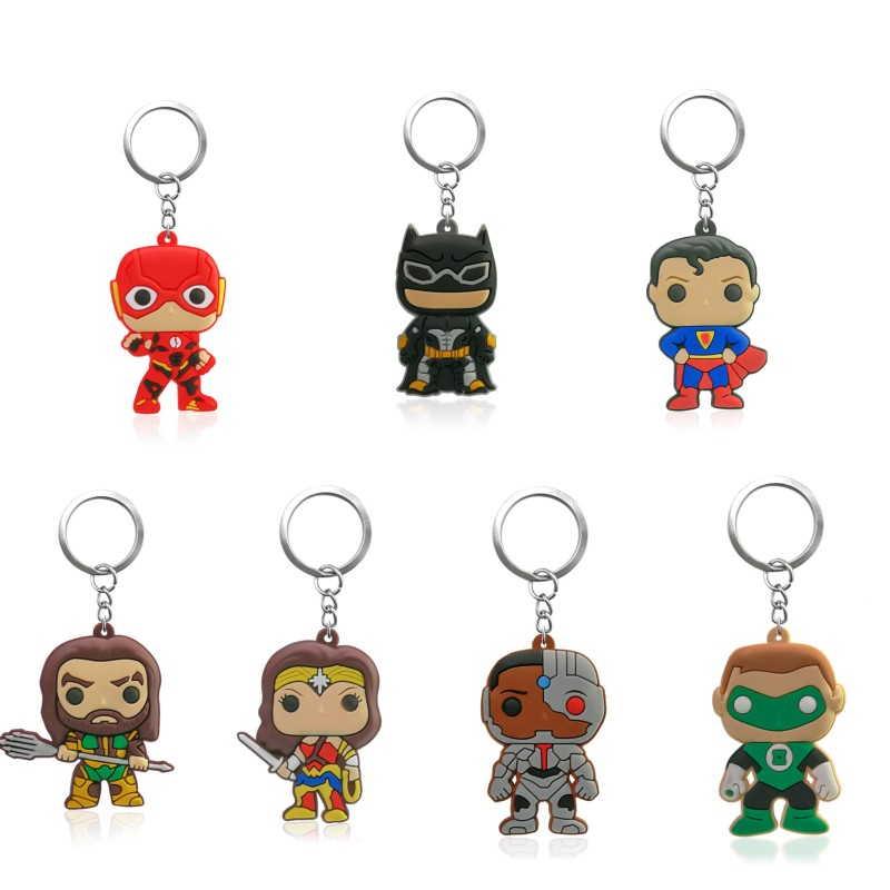 20pcs Justice League Keychain PVC Key Ring Kids Gift Key Chain Batman Superman Key Holder Party Favor Chaveiro Birthday Gift