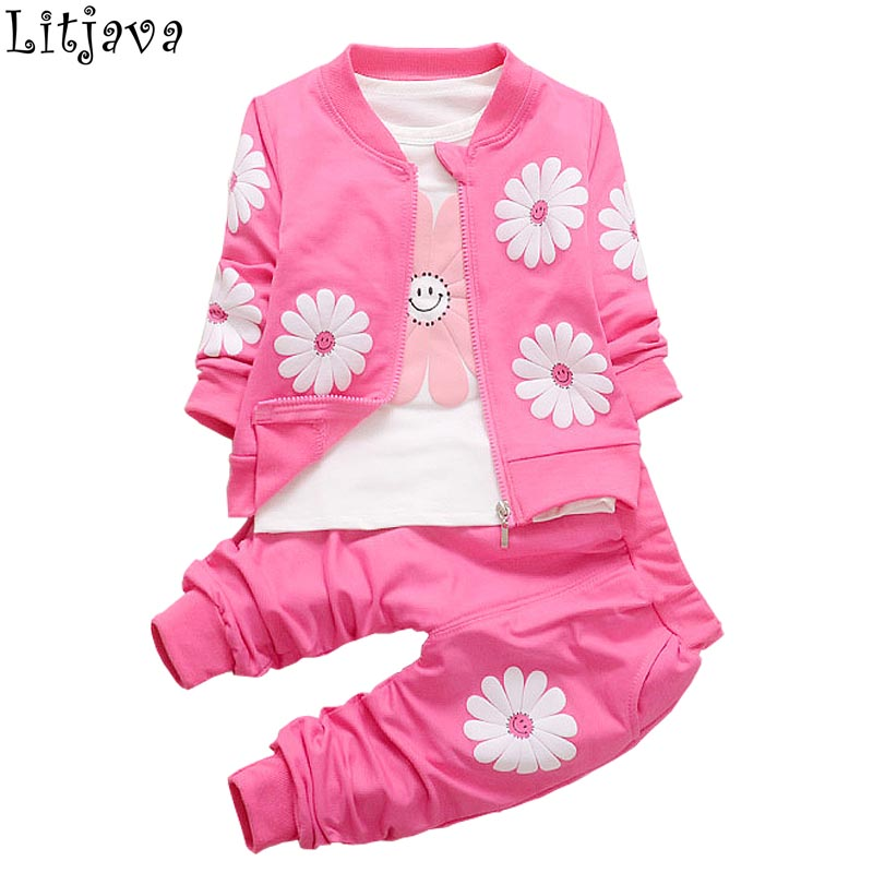 3PCS/Lot Fashion Lolita bebes Autumn Winter Clothing Set for Baby Girl 2017 Bomber Jackets+T-shirt+Pant Newborn Bloomers Fall ...