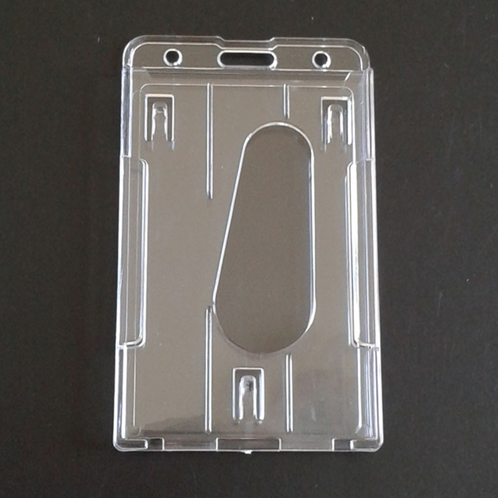 Multi-use Work Card Holder Double Side Practical Hard Plastic Transparent Durable Portable ID Card Case Badge