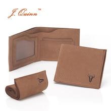 J.Quinn Handmade Real Leather Men Slim Wallet 8 Credit Cards Holder ID Slot Small Short Men's Wallets Vintage Purses New Fashion