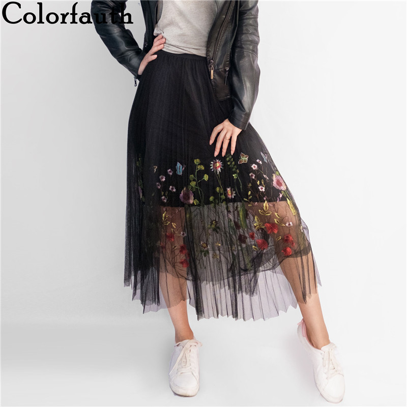 Colorfaith 2019 New Puff Women Mesh Tulle Long Skirt Fashion Vintage Pleated Floral Embroidery Elegant Female Tutu Skirts SP043
