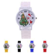 Модная детская Часы силиконовый ремешок наручные часы Санта Клаус Рождество дерево шаблон Xmas Обувь для мальчиков Обувь Для Девочек Кварцевые часы подарки TT @ 88