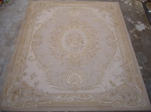 Free Shipping 5'X8' French Aubusson rug hand woven100% New Zealand wool rugs and carpets, classical beige color