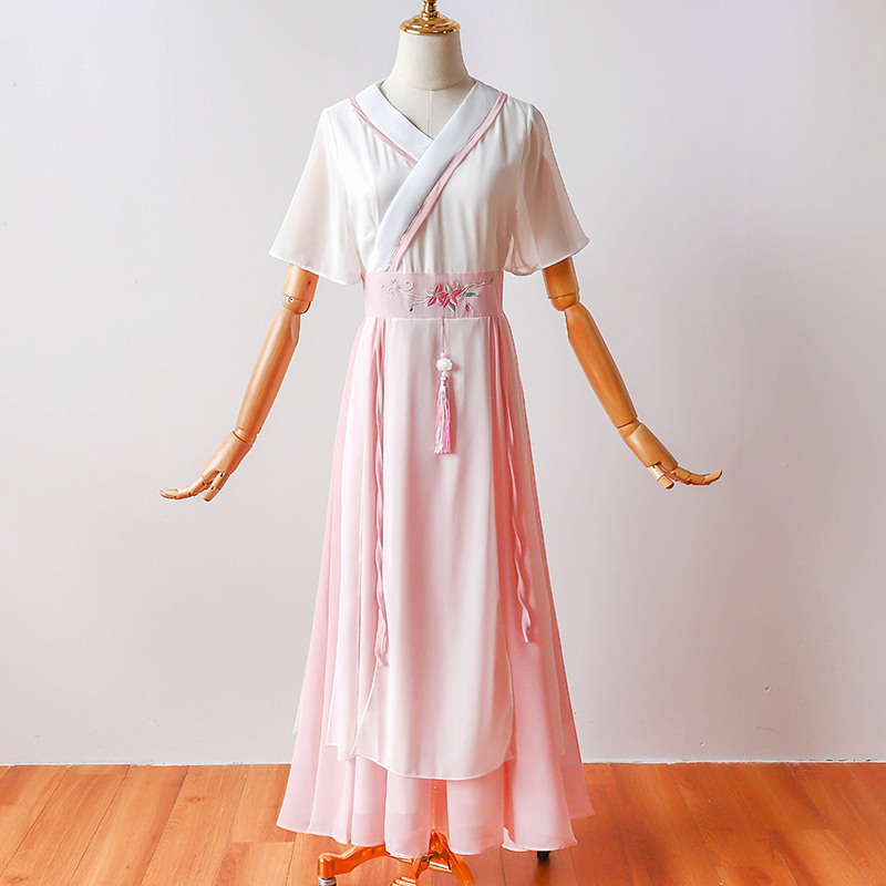 Dress   for Wedding Party   Bridesmaid     Dresses   Short Sleeves Chiffon Long Prom   Dress   Pink White Long Party   Dress   Embroidery Sashes