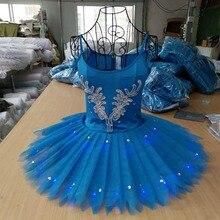 Ballet Professional Costume Fluorescent Pompon Dress Swan Lake Tutu School Art Opening Show Blue Pancake Jumpsuit H643