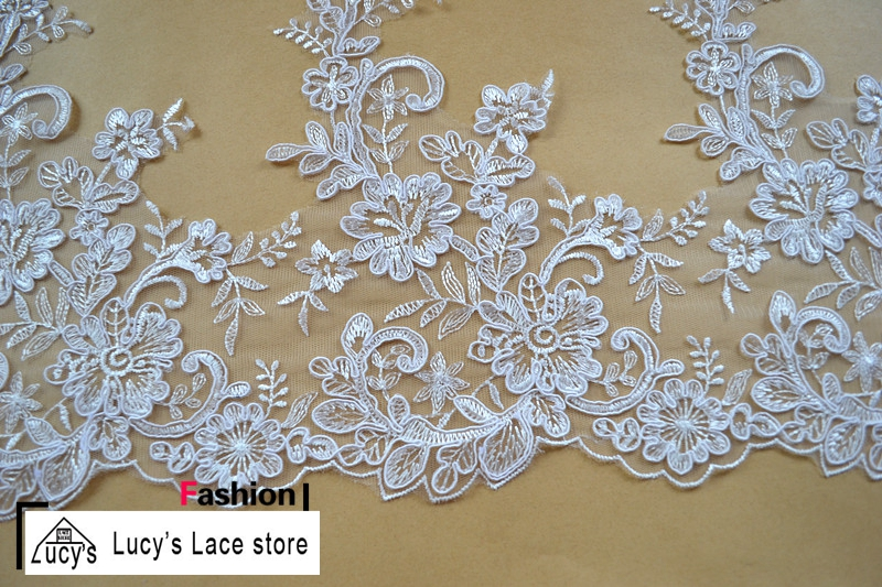 27CM 7 yards/lot Off white/Light ivory embroidery design wedding lace trimming wedding bride veil diy lace!