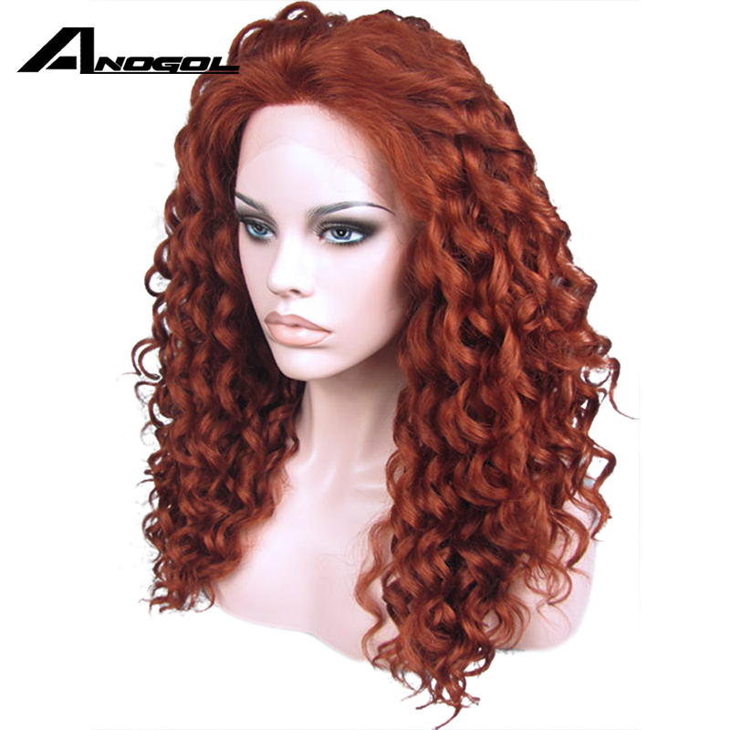 Anogol Hand Tied High Temperature Fiber Hair Wigs Long Kinky Curly Auburn Copper Red Synthetic Lace