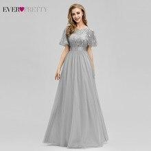 New Grey Bridesmaid Dresses Ever Pretty A-Line O-Neck Sparkle Illusion Long For Dress Wedding Party Vestido Madrinha