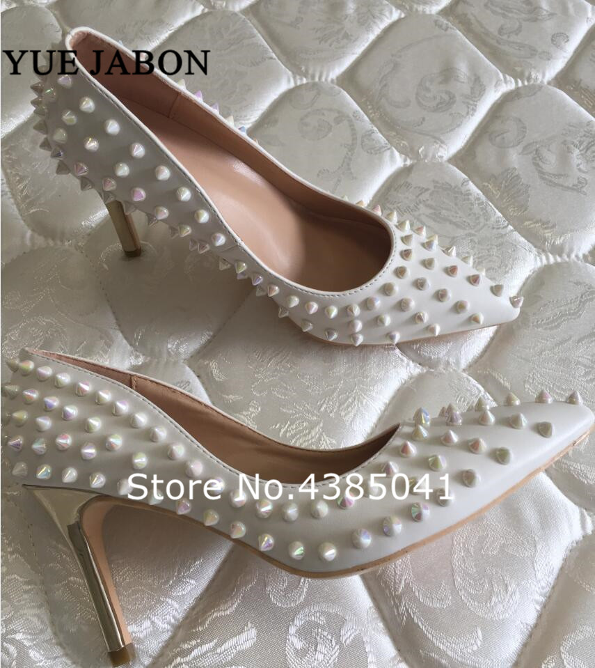 New Gold Heels Pointed Toe Thin High Heels Sexy White Rivets Spike Women Party Shoes Classical
