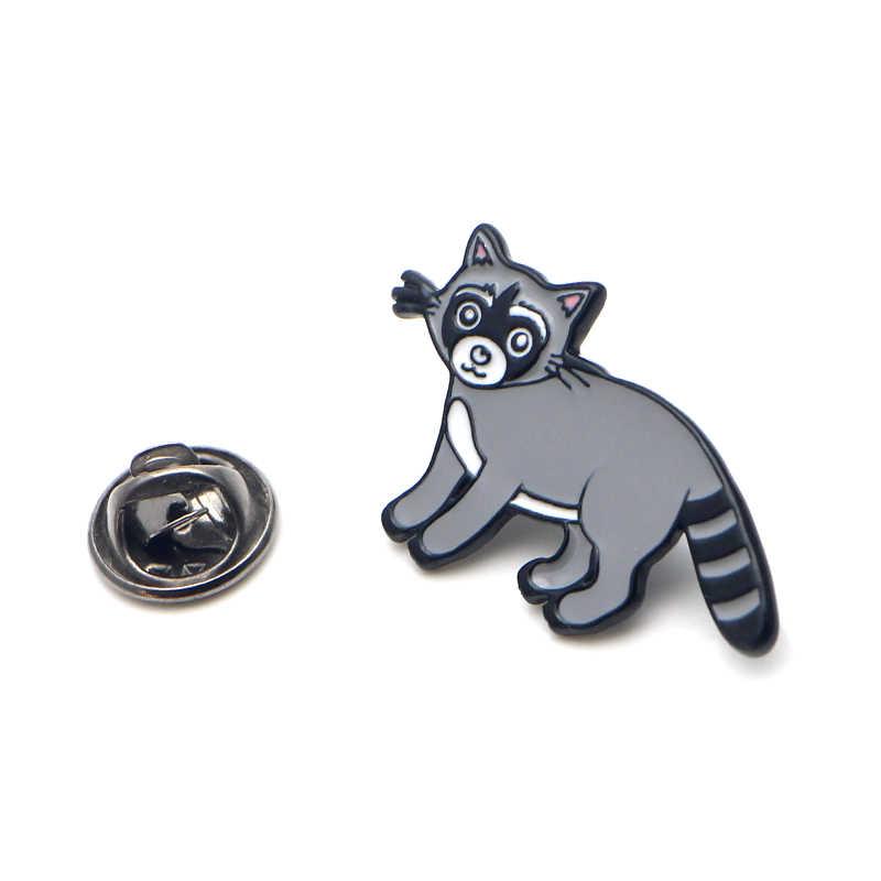 Procyon Lotor Orso Cartone Animato in Lega di Zinco Perni di Legame Badge Para Borsa Camicia di Vestiti Cap Zaino Scarpe Medaglia Spille Decorazione E0366