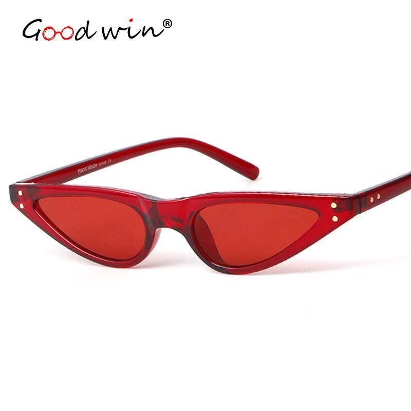 GOOD WIN Super Small Cat Eye Sunglasses Retro 90s Stylish Triangle Chic Sun Glasses Rivets Black White Red 2018 Hot Point Ladies