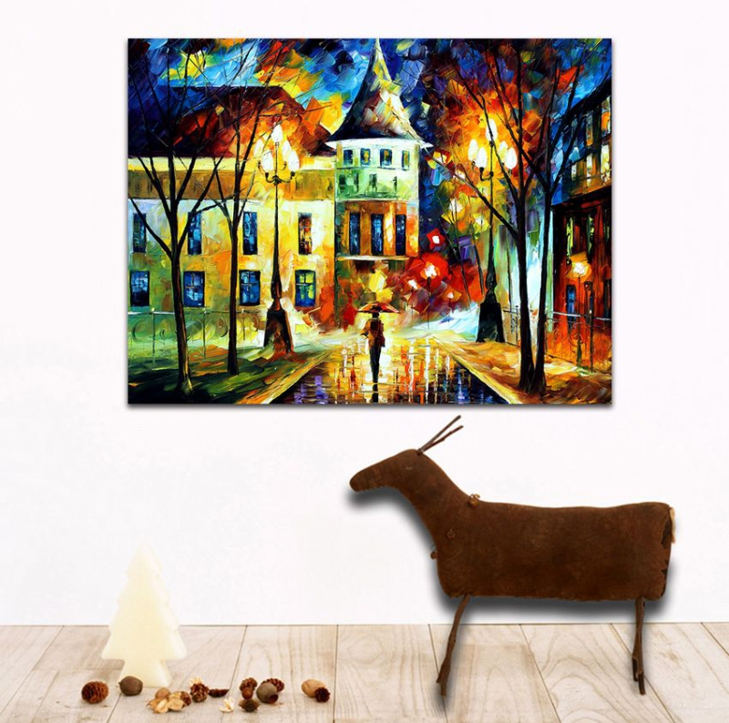 Walking in Night Street 100 Hand painted Palette font b Knife b font Architecture Painting Canvas