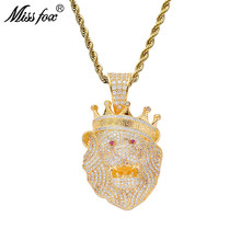 Missfox Crown Lion Head Pendant Necklace Hip Hop Jewelry Delicate Creative Necklaces For Men Gift High Quality Pendant Chain(China)