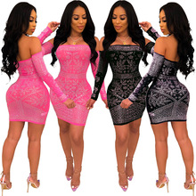 European And American Women Sexy Strapless off the Shoulder Hot Drilling Dress Party