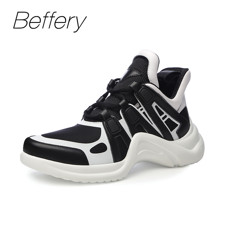 Beffery 2018 Women Sneakers Casual Genuine Leather shoes Fashion Thick bottom Platform Shoes For Women Lace-up Shoes womn beffery women s shoes british style patent leather flat shoes fashion thick bottom platform shoes for women lace up casual shoes