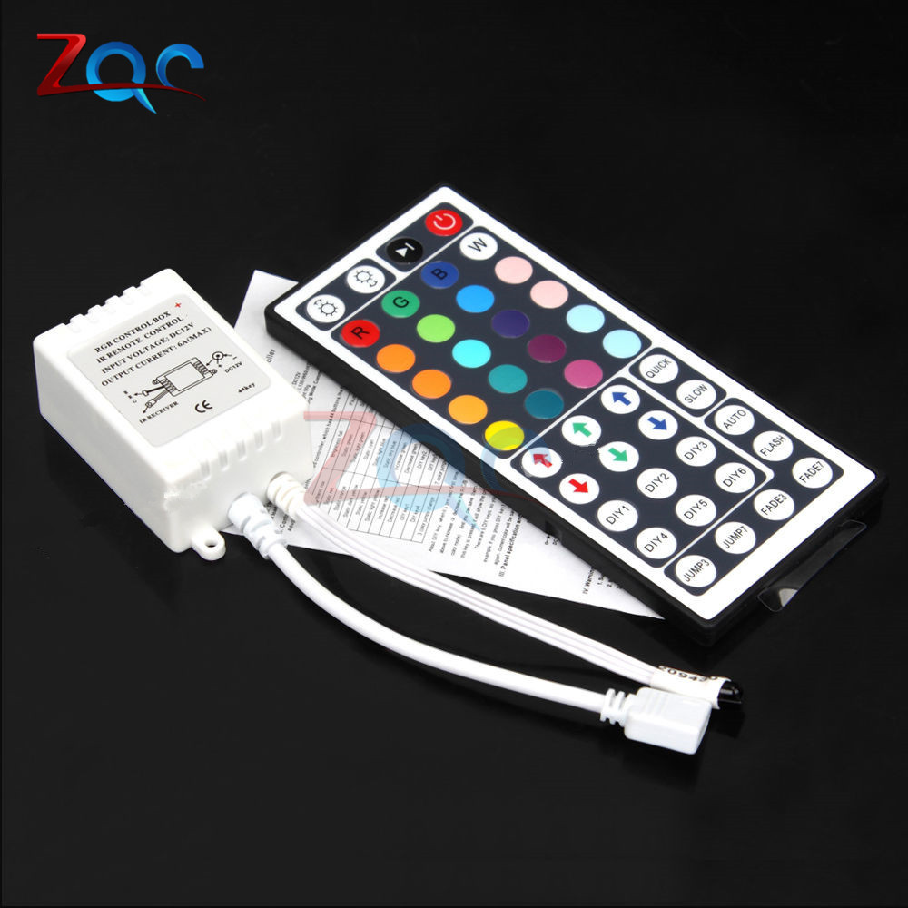 LED Controller 44 Keys LED IR RGB Controler LED Lights Controller IR <font><b>Remote</b></font> <font><b>Dimmer</b></font> DC12V 6A For RGB 3528 5050 LED Strip <font><b>12V</b></font> image